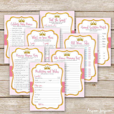 Pink Princess 8 Baby Shower Games Package