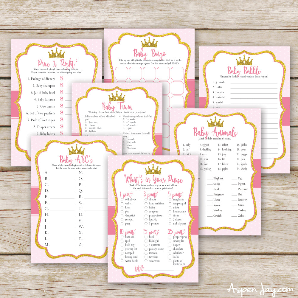 Pink Princess 7 Baby Shower Games Package
