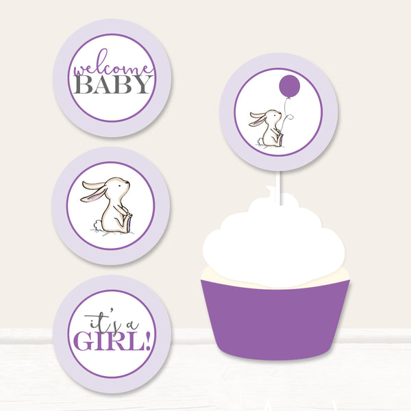 Purple Bunny Cupcake Toppers