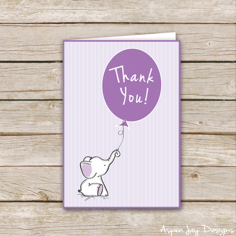 Purple Elephant Thank You Cards