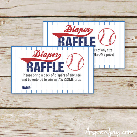 Baseball Diaper Raffle Tickets & Sign