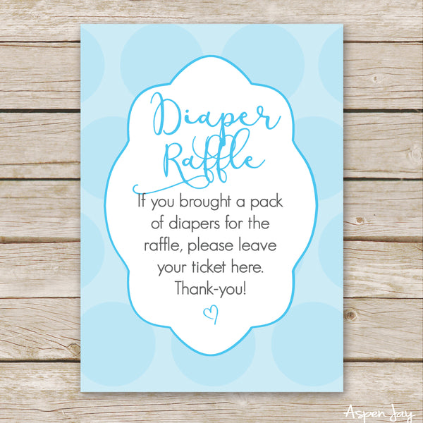 Blue Bunny Diaper Raffle Tickets & Sign