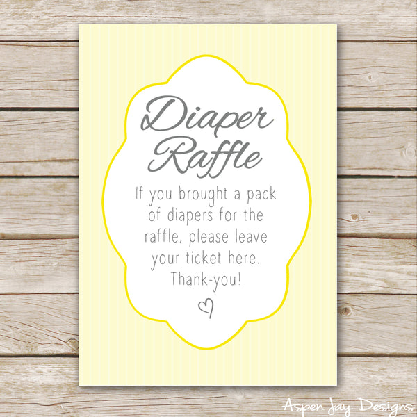 Yellow Elephant Diaper Raffle Tickets & Sign