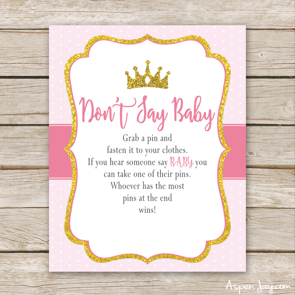 Pink Princess Don't Say Baby Sign