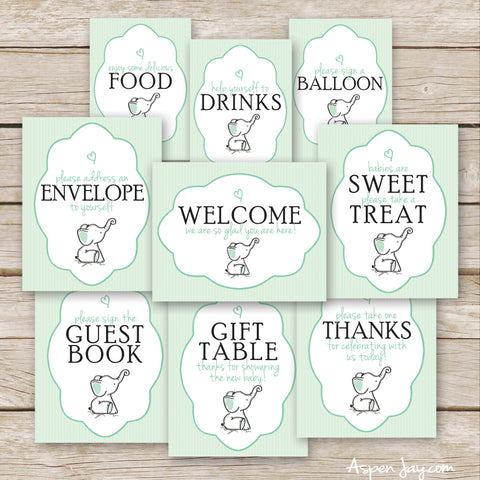 Green Elephant Baby Shower Signs