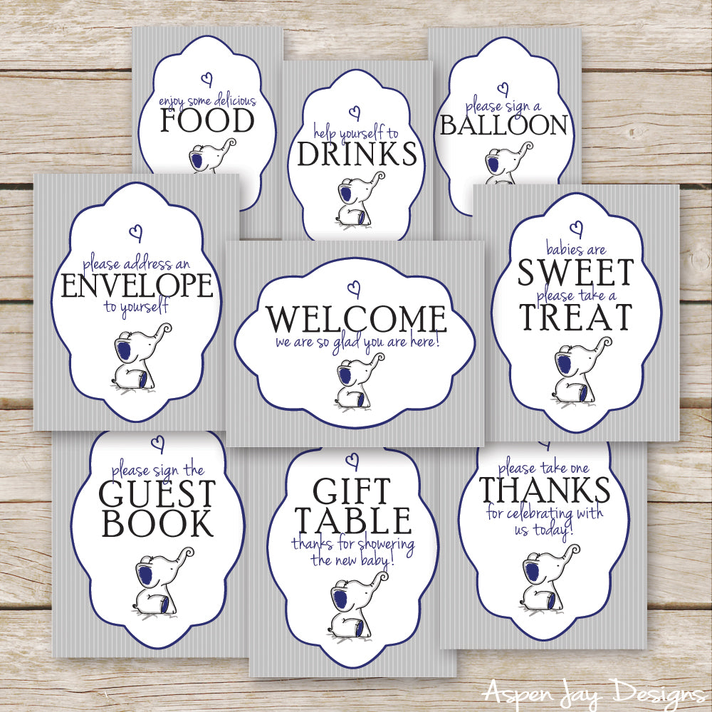 Navy Elephant Baby Shower Signs