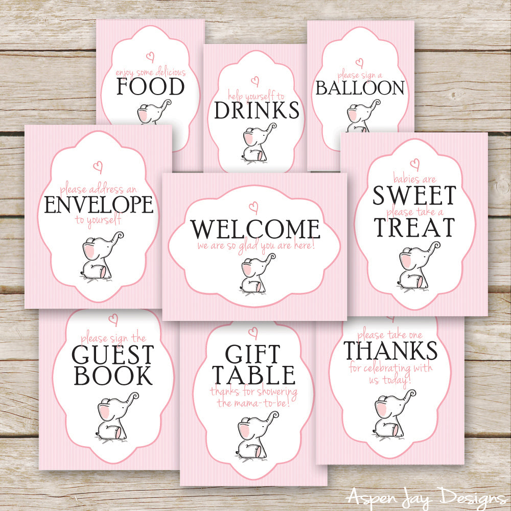 Pink Elephant Baby Shower Signs