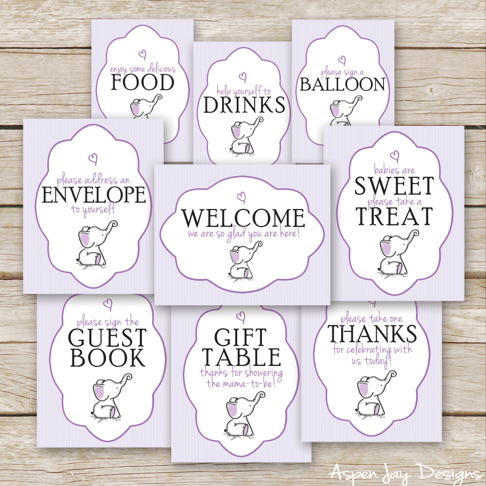 Purple Elephant Baby Shower Signs