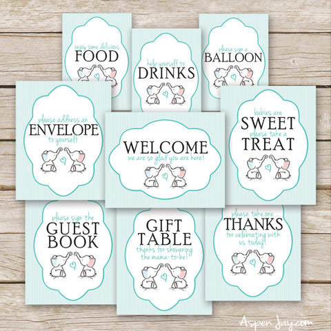 Twin Pink & Blue Elephant Baby Shower Signs