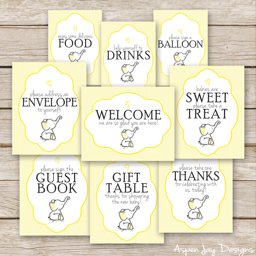 Yellow Elephant Baby Shower Signs