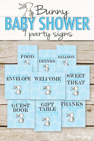 Blue Bunny Baby Shower Signs