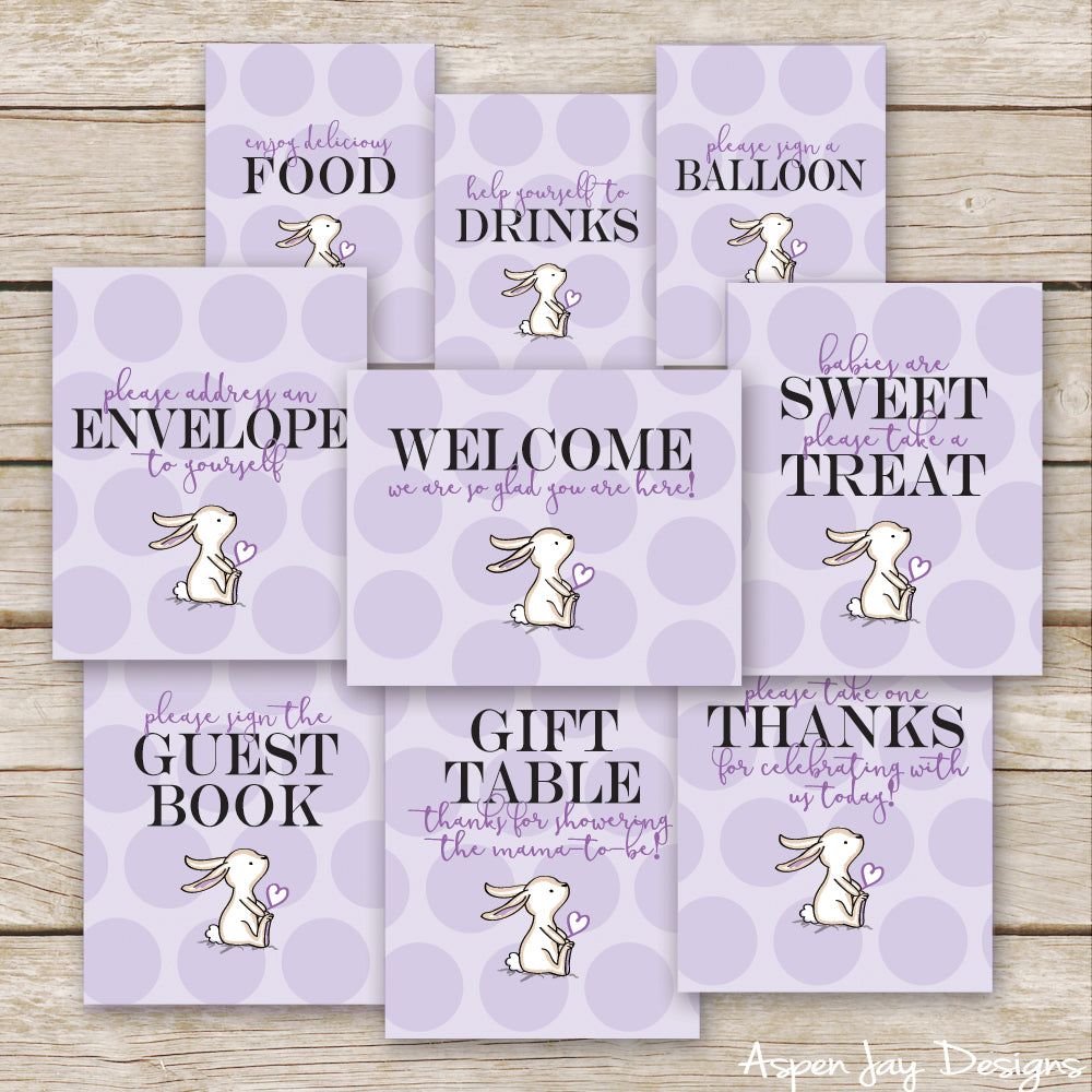 Purple Bunny Baby Shower Signs
