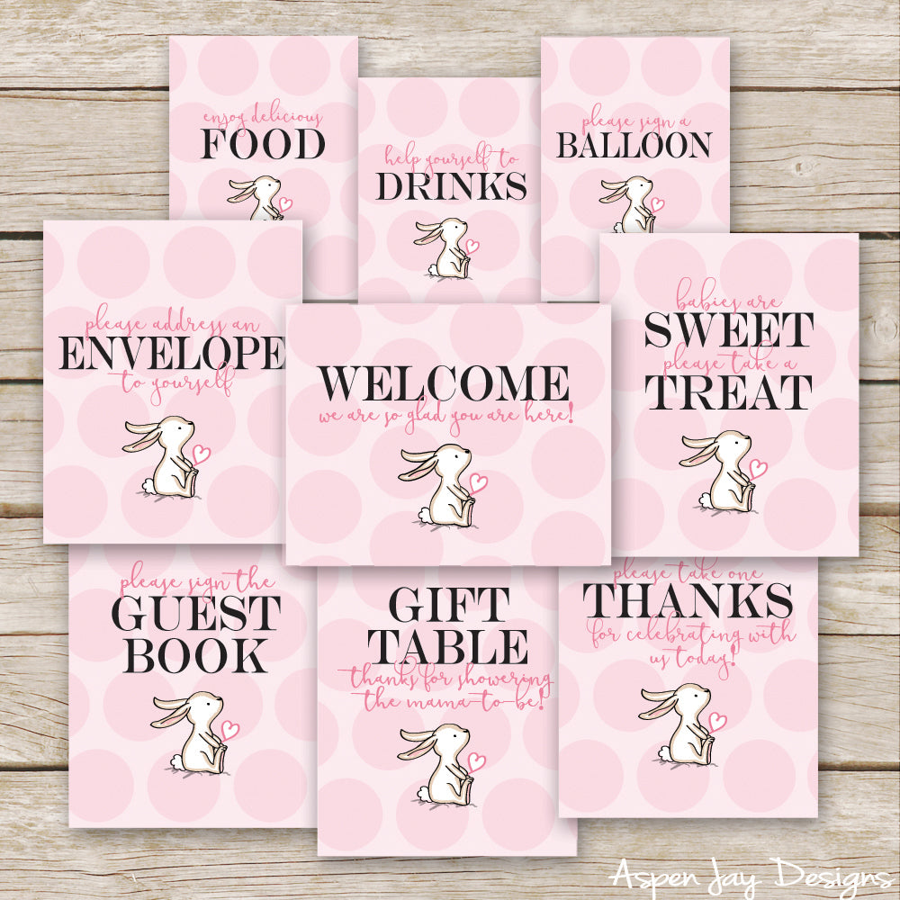Pink Bunny Baby Shower Signs