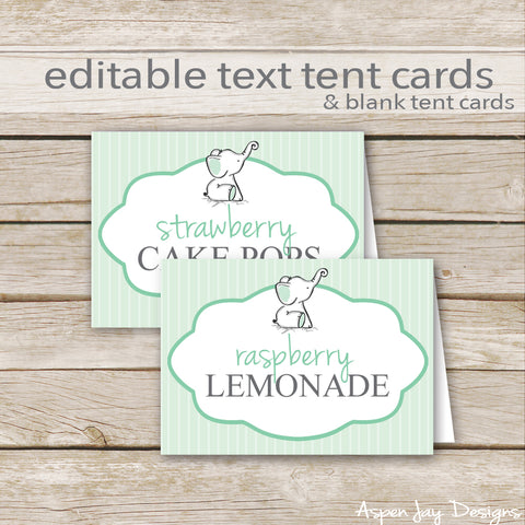 Editable Green Elephant Party Labels