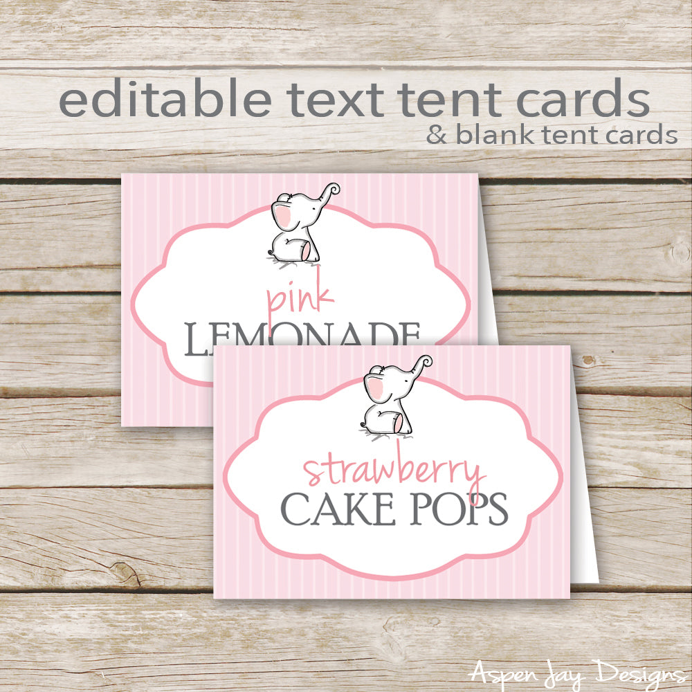 Editable Pink Elephant Party Labels