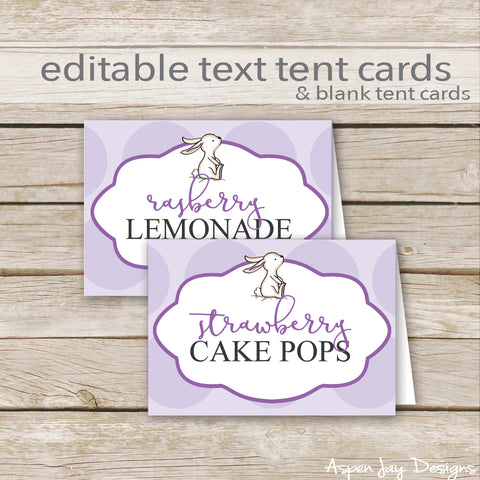 Editable Purple Bunny Party Labels