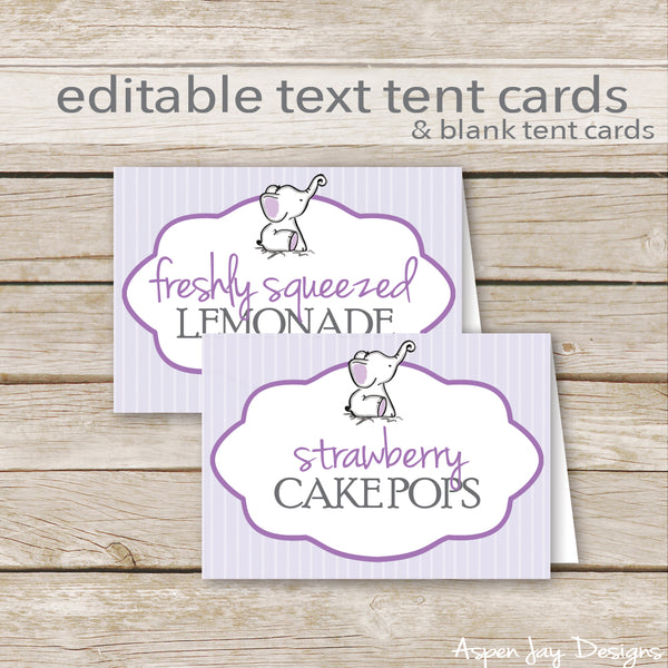 Editable Purple Elephant Party Labels