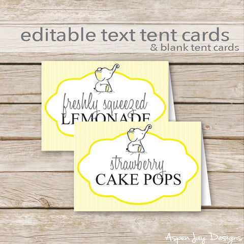 Editable Yellow Elephant Party Labels