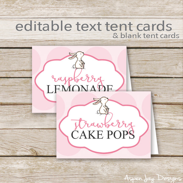 Editable Pink Bunny Party Labels