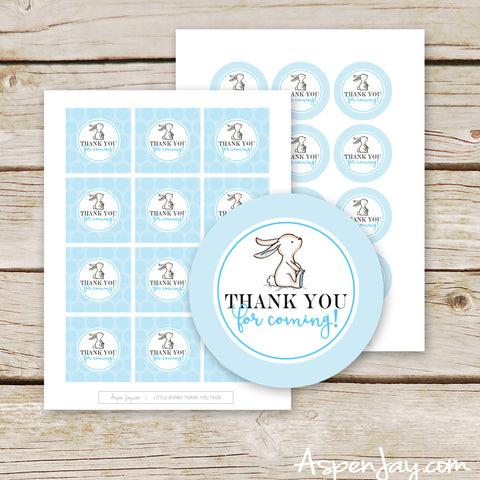 Blue Bunny Thank-You Favor Tags