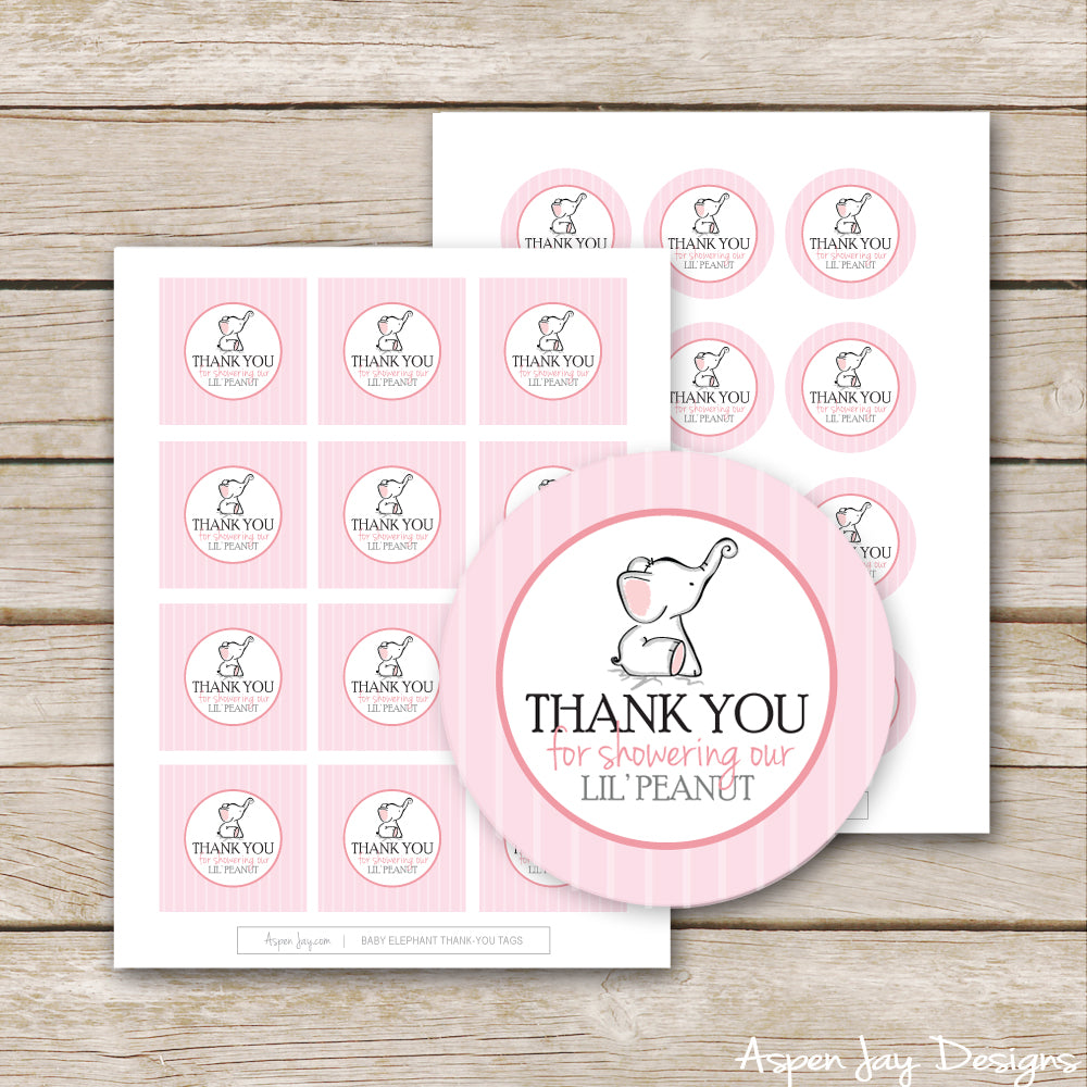 Pink Elephant Shower Favor Tags