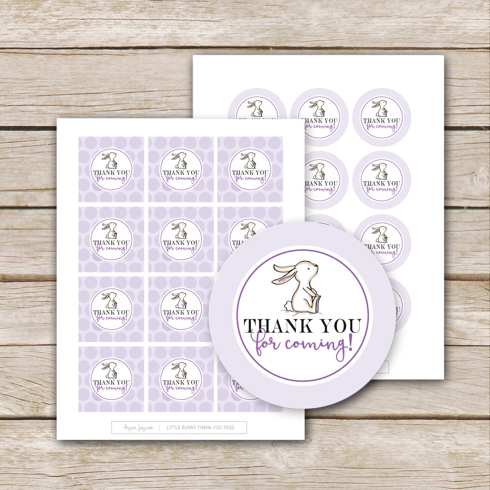 Purple Bunny Thank-You Favor Tags