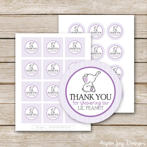 Purple Elephant Shower Favor Tags