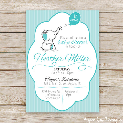 Turquoise Elephant Baby Shower Invites