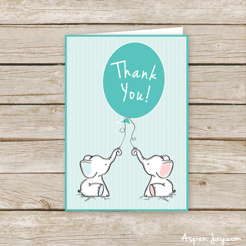 Twin Pink & Blue Elephant Thank You Cards