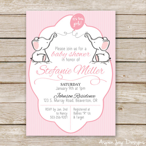 Twin Pink Elephant Baby Shower Invites