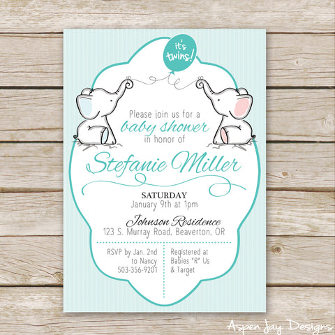 Twin Pink and Blue Elephant Baby Shower Invites
