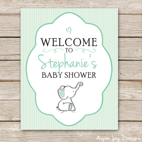 Green Elephant Shower Welcome Sign