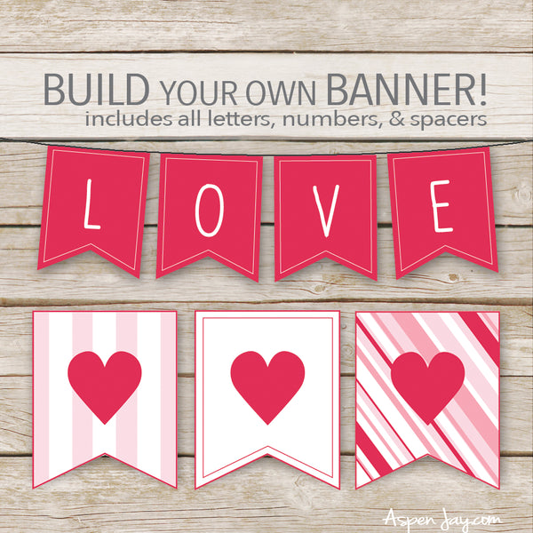 Valentines Banner - ALL Letters & Numbers