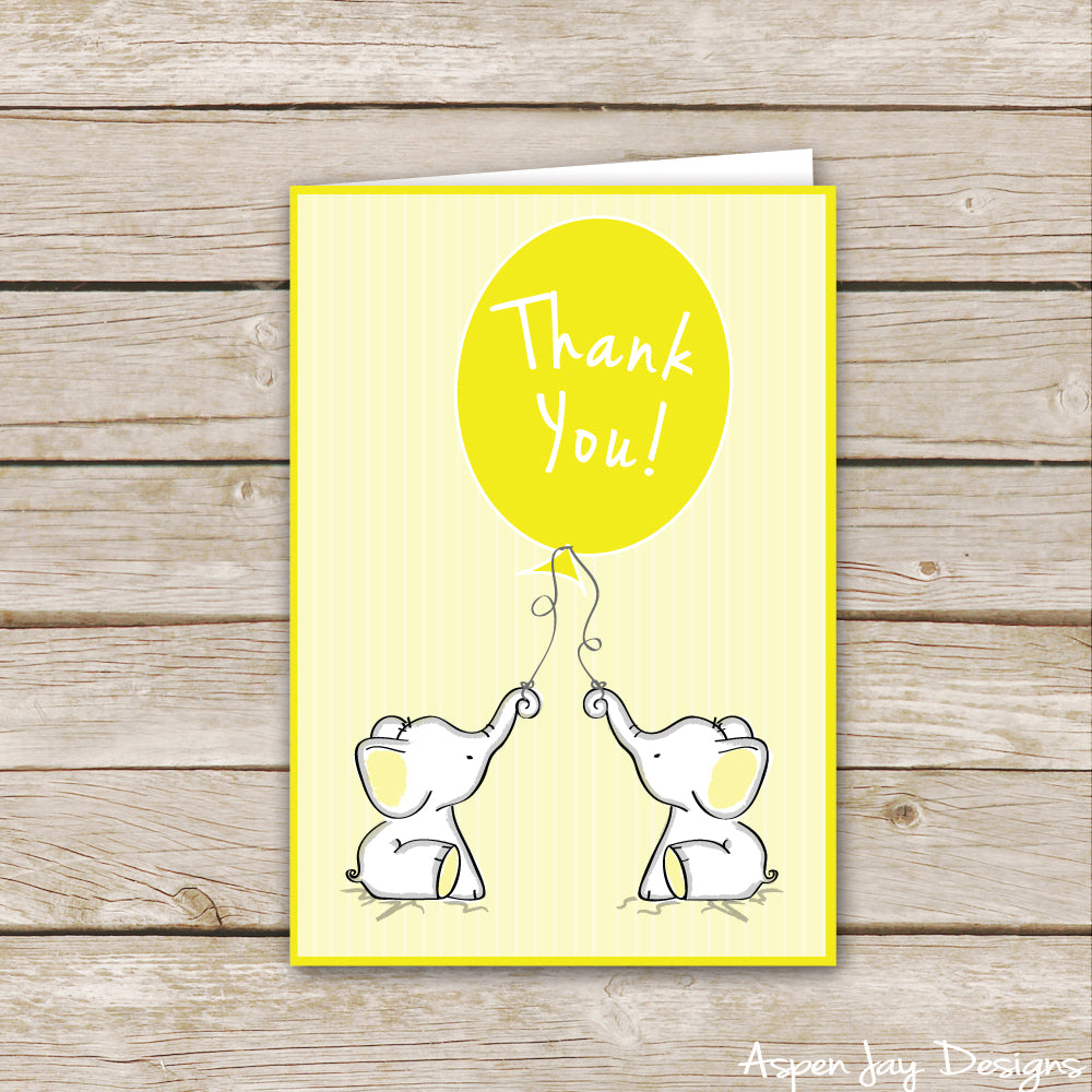 Yellow Twin Elephant Thank You Cards