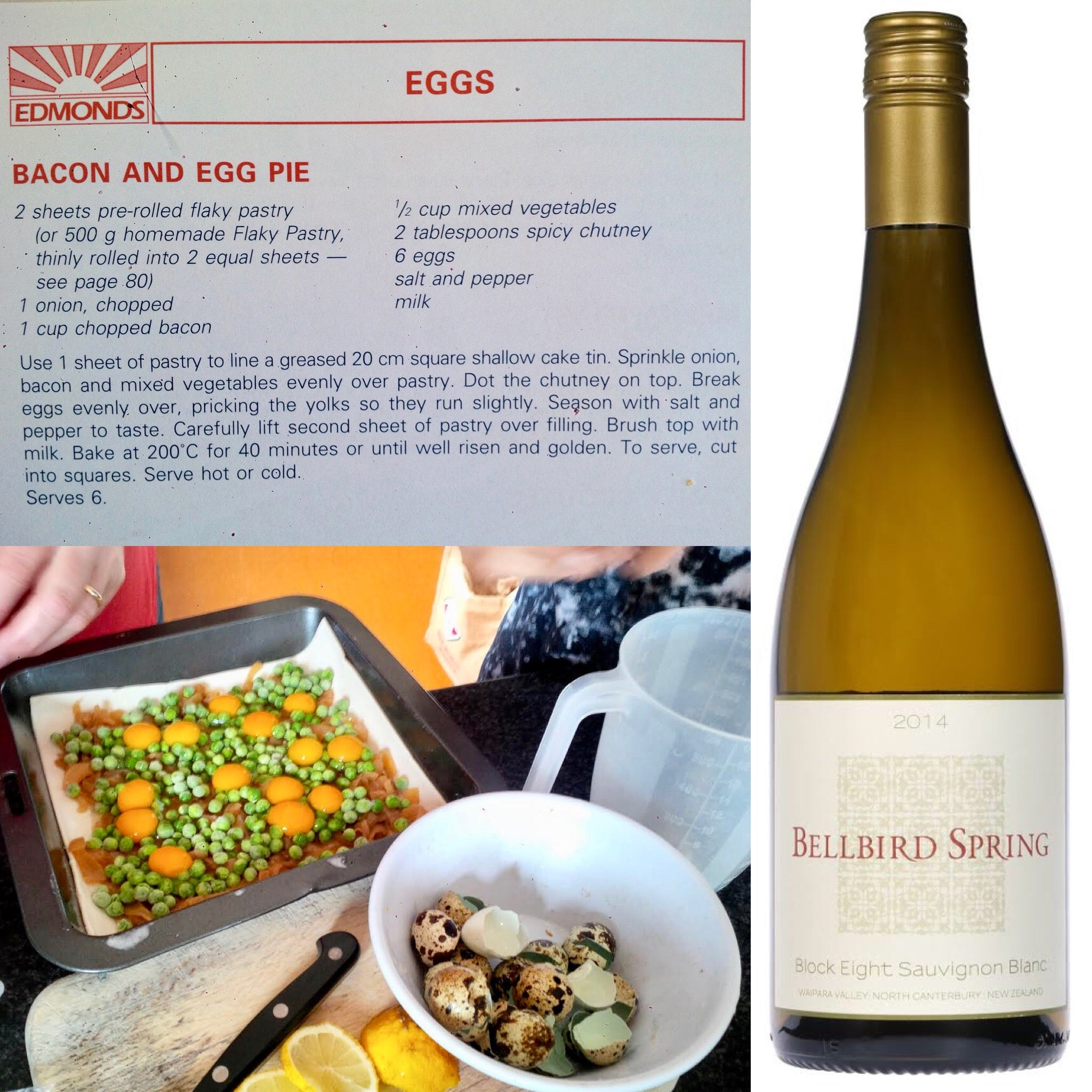 Food and Wine Match - Block Eight Sauvignon Blanc and Bacon and Quail Egg Pie