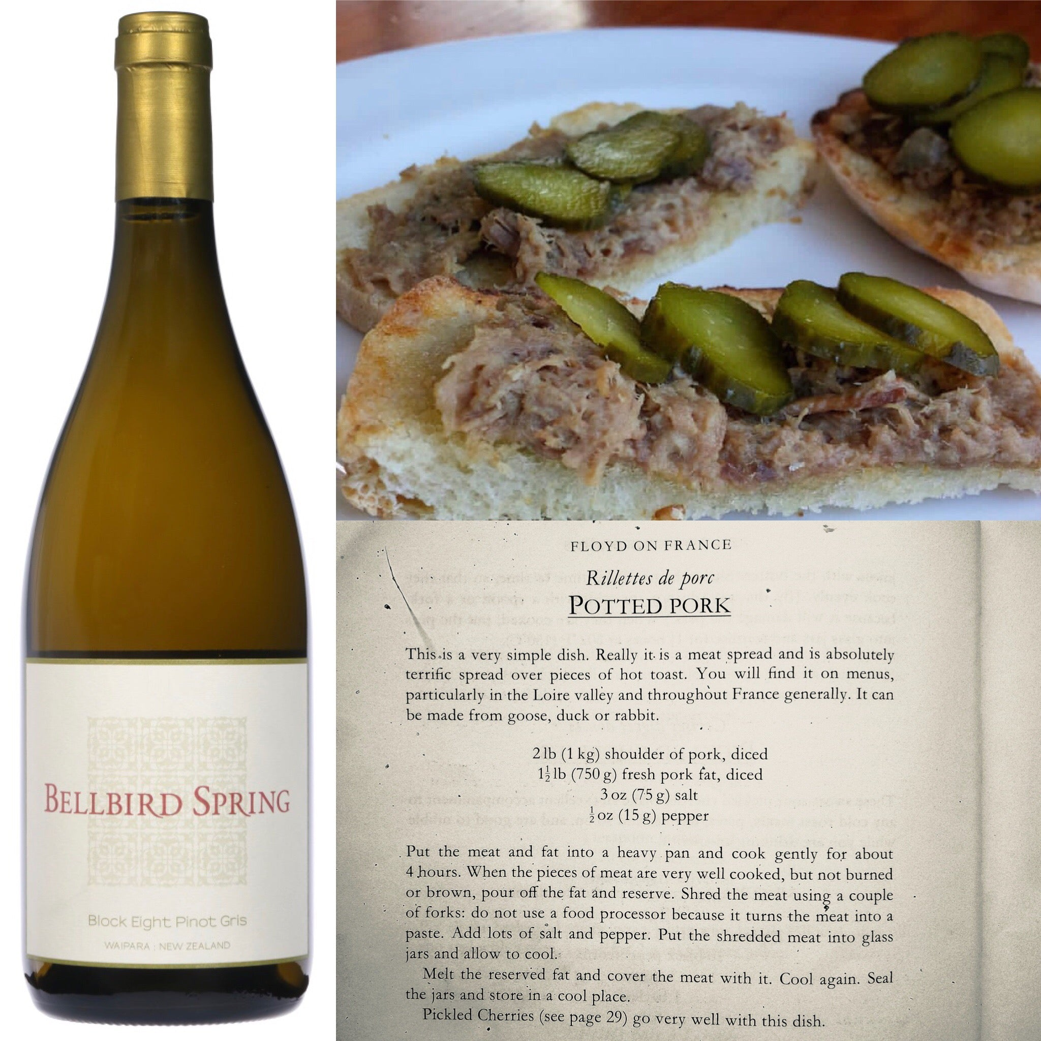 Food and Wine Match - Block Eight Pinot Gris with Pork Rillettes