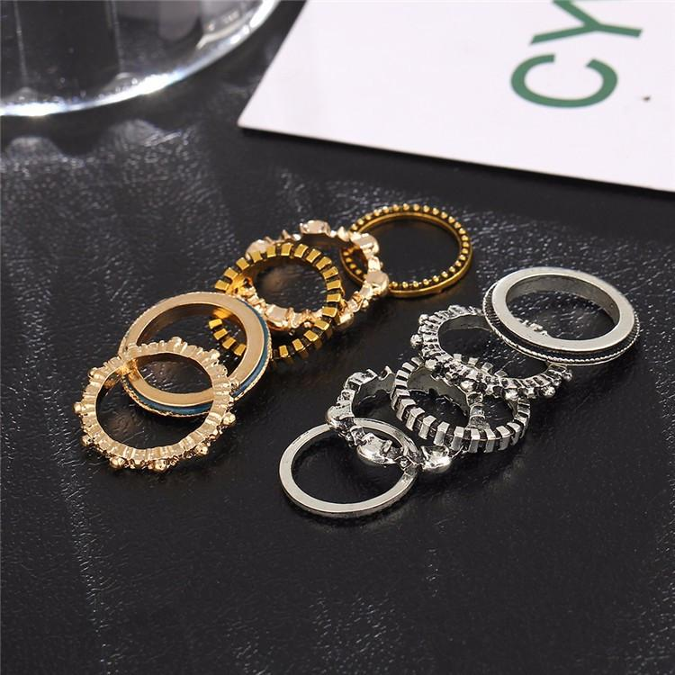 Simple Antique Stacking Midi Ring & Ring Set