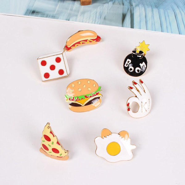 Cute & Fun Mini Pins Assortment - Burgers N' Fries
