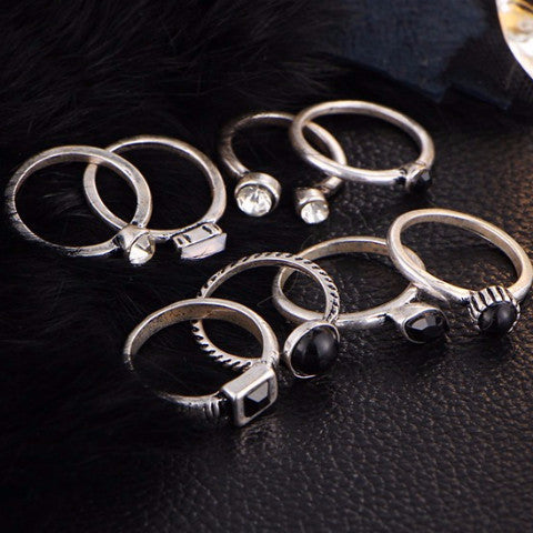 8 Piece Simple Black Stone & Silver Ring Set