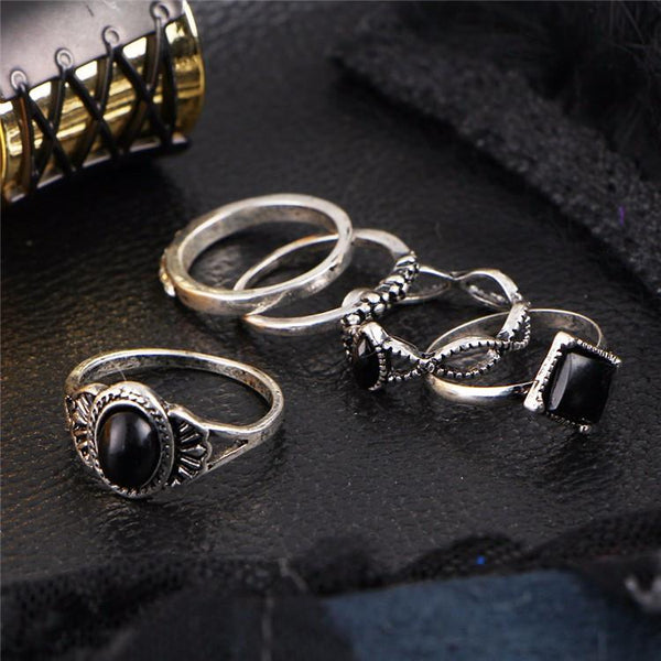 Onyx Stone & Silver Detailed Midi Ring & Ring Set