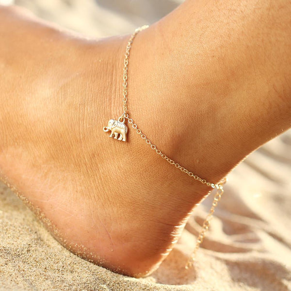 Tiny Elephant Charm Anklet Chain in Gold or Silver