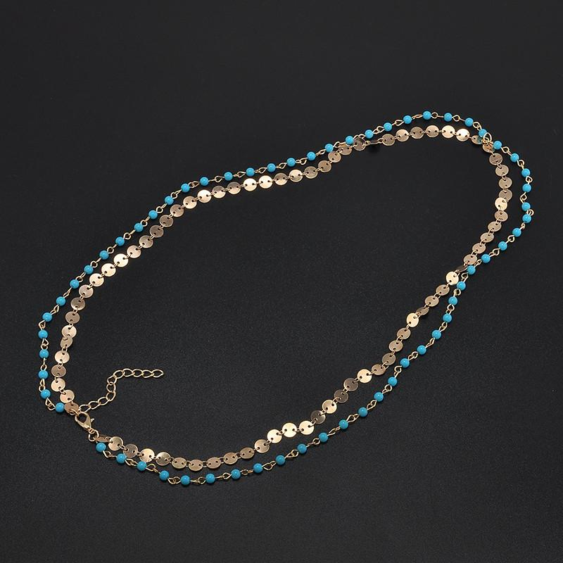 Turquoise Beaded Layering Chain Headband in Gold