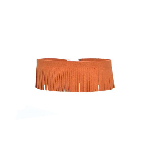 Free Spirit Fringe Suede Statement Choker Necklace in Various Colors