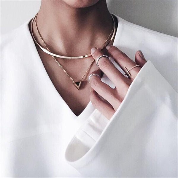 Geometric Triangle Pendant Shiny Gold Choker Necklace