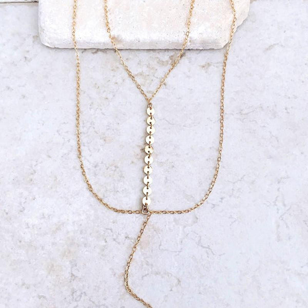 Delicate Gold or Silver Chain & Disk Layered Necklace