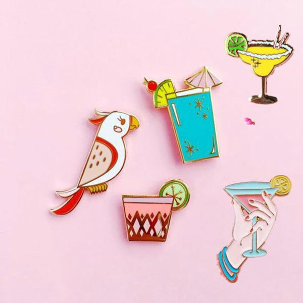 Cute & Fun Mini Pins Assortment - Birds & Booze