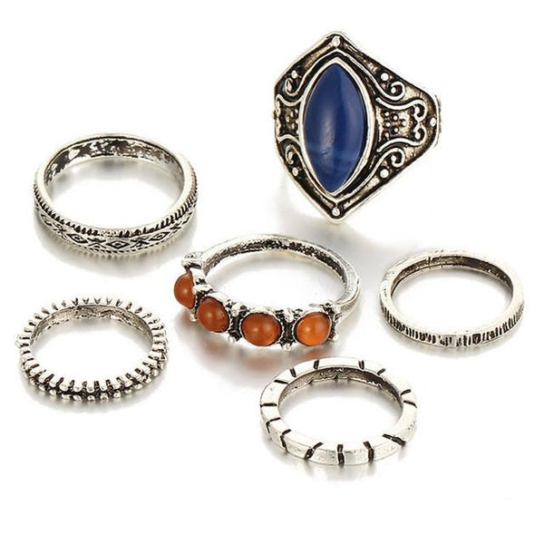 Royal Blue & Bronze Ring Set