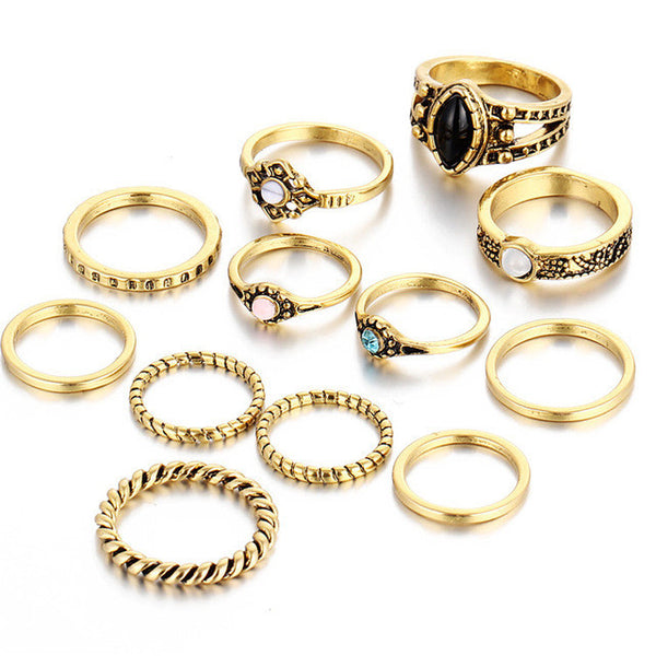 12 Piece Free Spirit Bohemian Ring Set in Gold or Silver