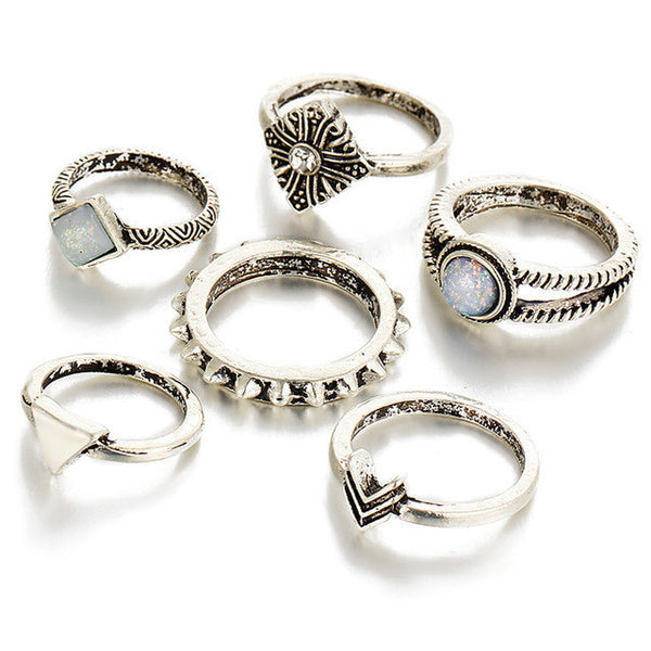 Arrows & Stones Silver Midi Ring & Ring Set
