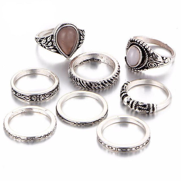 Ethnic Bohemian Beach Opal Midi Ring & Ring Set in Antique Silver